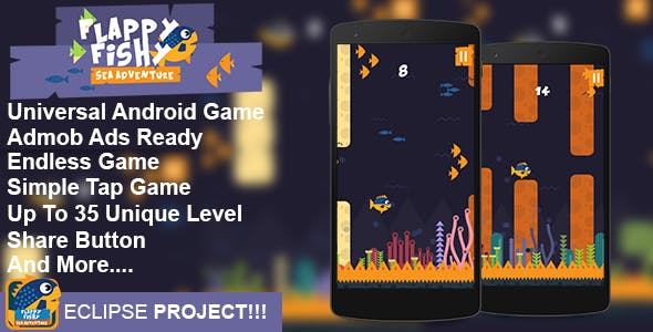 Flappy Fish – Flappy Game Android Game Template Eclipse Project