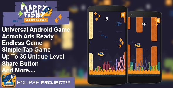 Flappy Fish – Flappy Game Android Game Template Eclipse Project - CodeCanyon Item for Sale