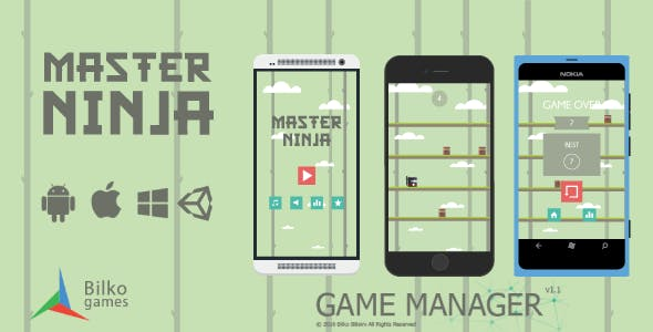 Master Ninja - UI Game Manager / AdMob / Google Play Leaderboard
