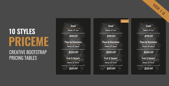 Priceme | Responsive Bootstrap Pricing Table Collection - CodeCanyon Item for Sale
