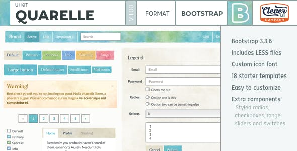 Quarelle - Watercolor Paint Bootstrap UI Kit