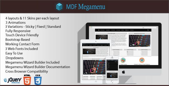 MDF Megamenu - Bootstrap Responsive Megamenu