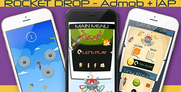Rocket Drop iOS - iAP + ADMOB + Leaderboards