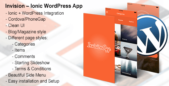 Invision – Ionic WordPress App - CodeCanyon Item for Sale