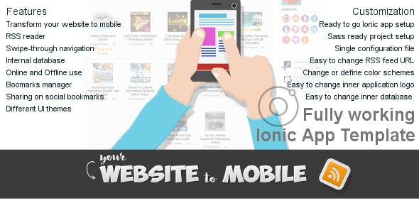 Website to Mobile Ionic Application Template