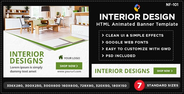 Html5 Interior Design Banners Nf101 7 Sizes By Hyov Codecanyon