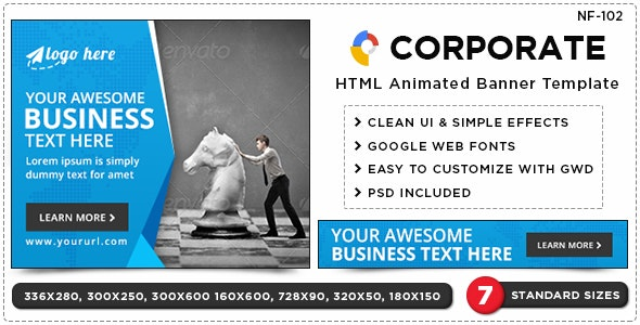 HTML5 Corporate Banners - GWD - 7 Sizes(NF102) - CodeCanyon Item for Sale
