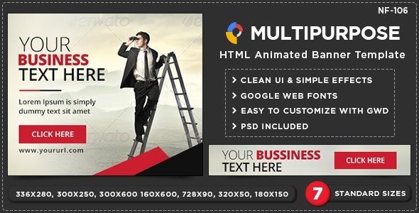 HTML5 Multi Purpose Banners - GWD - 7 Sizes(NF106) - CodeCanyon Item for Sale