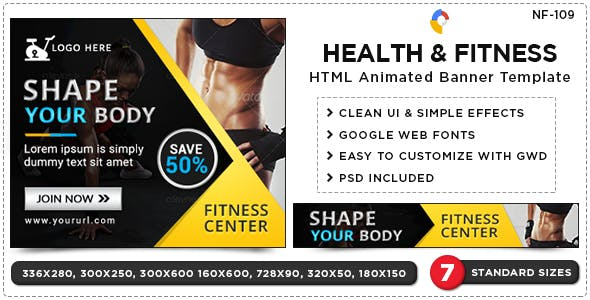 HTML5 Health & Fitness Banners - GWD - 7 Sizes(NF109)