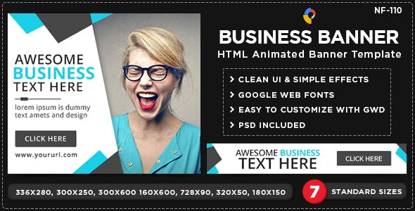 HTML5 Business Banners - GWD - 7 Sizes(NF110)