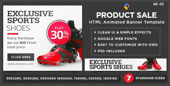 HTML5 E-Commerce Banners - GWD - 7 Sizes(NF111)