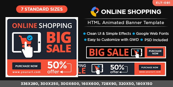 HTML5 E-Commerce Banners - GWD - 7 Sizes(ELT091)