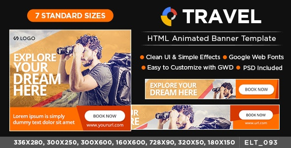 HTML5 Travel Banners - GWD - 7 Sizes(ELT92) - CodeCanyon Item for Sale