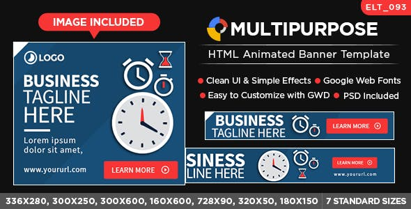 HTML5 Multi Purpose Banners - GWD - 7 Sizes (ELT93)