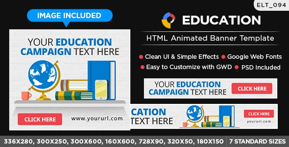HTML5 Education Banners - GWD - 7 Sizes(ELT094) - CodeCanyon Item for Sale