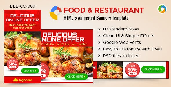 HTML5 Cafe & Restaurant Banners - GWD - 7 Sizes