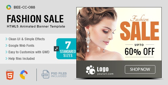 HTML5 Fashion Banners - GWD - 7 Sizes(BEE-088) - CodeCanyon Item for Sale