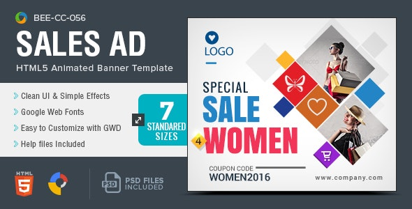 HTML5 Sale & Offer Banners - GWD - 7 Sizes(BEE-056) - CodeCanyon Item for Sale