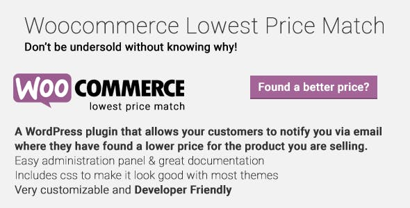 Woocommerce Lowest Price Match