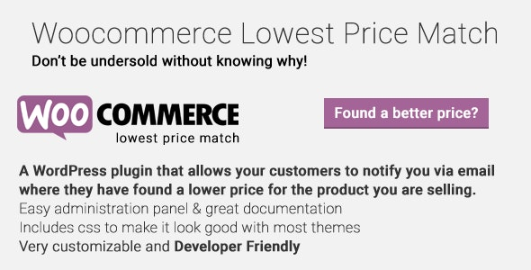 Woocommerce Lowest Price Match - CodeCanyon Item for Sale