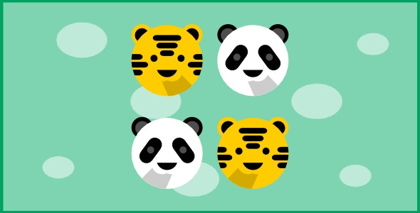 cute animals - tic tac toe - html5 game - CodeCanyon Item for Sale