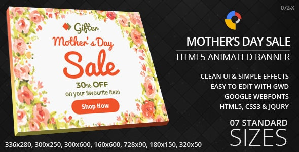 Mother's Day - HTML5 ad banners - CodeCanyon Item for Sale