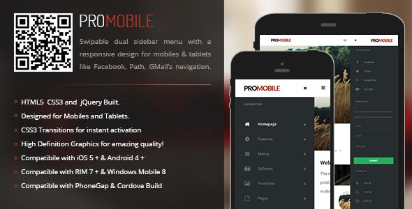 ProMobile | Sidebar Menu for Mobiles & Tablets