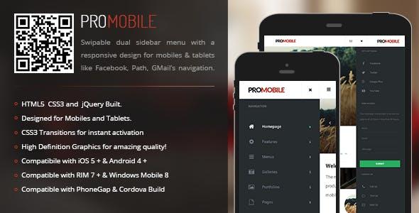 ProMobile | Sidebar Menu for Mobiles & Tablets