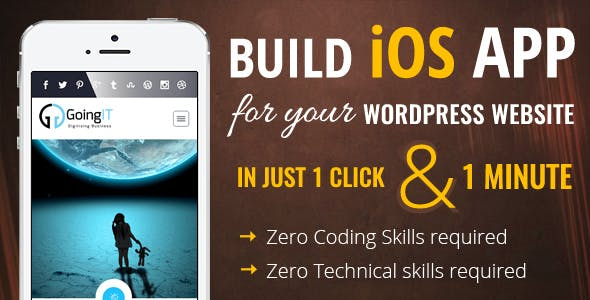 Create WordPress Apple iOS Mobile App Maker and Builder
