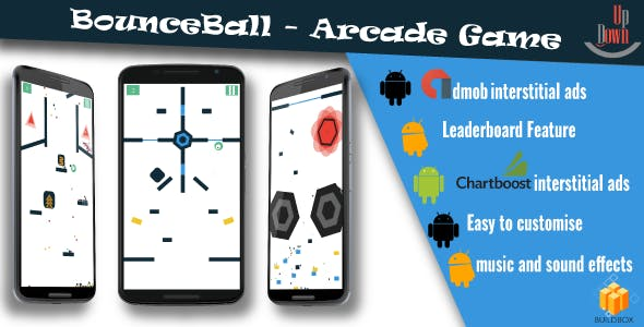 "BounceBall with Admob | Chartboost | Leaderboard | Power-ups and No Ads ""In App Purchase"""