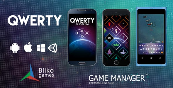 Qwerty - UI Game Manager / AdMob / Google Play Leaderboard