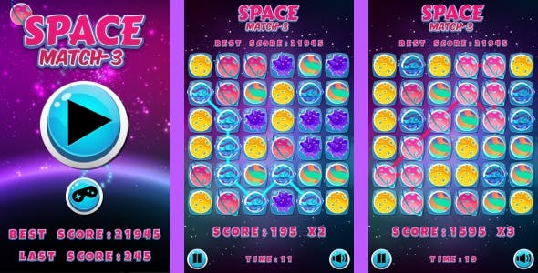 Space Match3 - HTML5 Game + Android + AdMob (Construct 3 | Construct 2 | Capx)