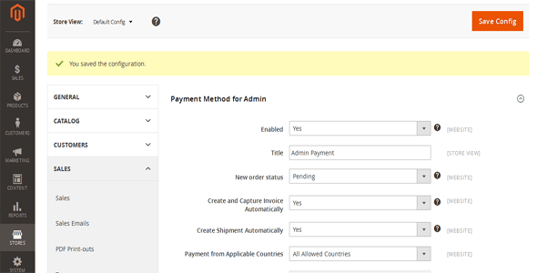 Magento 2 Admin Payment Method