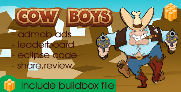 Cow boy - Buildbox Game Template + Android Eclipse Project Template Included