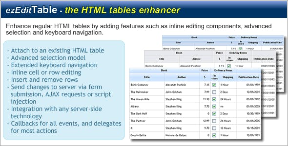 ezEditTable - Enhance HTML Tables