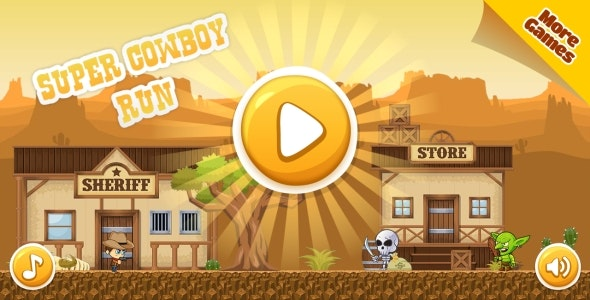Super Cowboy Run - HTML5 Game, Mobile Version+AdMob!!! (Construct 3 | Construct 2 | Capx) - CodeCanyon Item for Sale