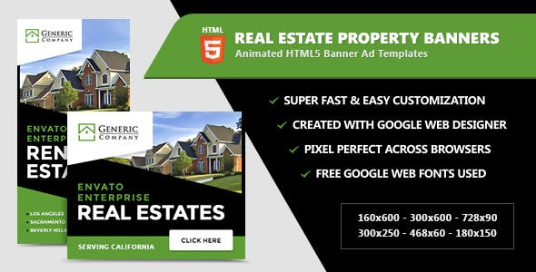 Real Estate Property Banners - HTML5 Ads