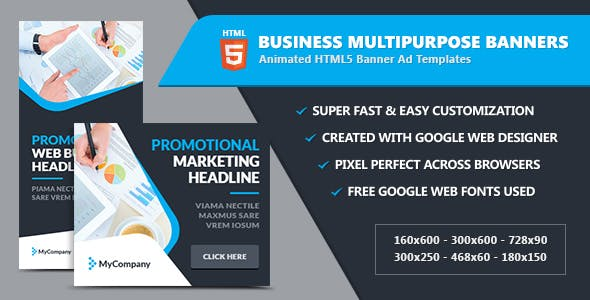Business Banner Ads / Multipurpose - HTML5 GWD