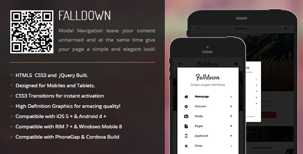 FallDown | Modal Menu for Mobiles & Tablets