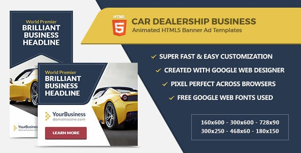 Car Dealership Banner Ads - HTML5 GWD Templates