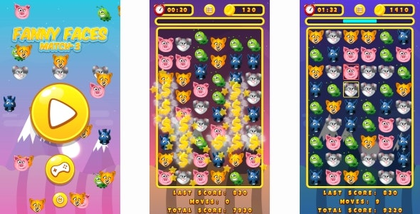 Funny Faces Match3 - HTML5 Game + Android + AdMob (Construct 3 | Construct 2 | Capx) - CodeCanyon Item for Sale
