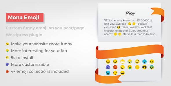 Mona Emoji - Custom funny emoji/emoticon on your post/page - Wordpress plugin