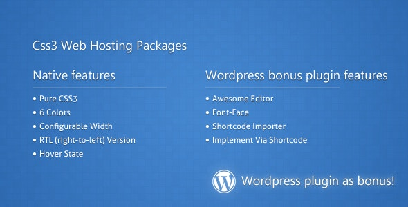 Css3 Web Hosting Packages - CodeCanyon Item for Sale