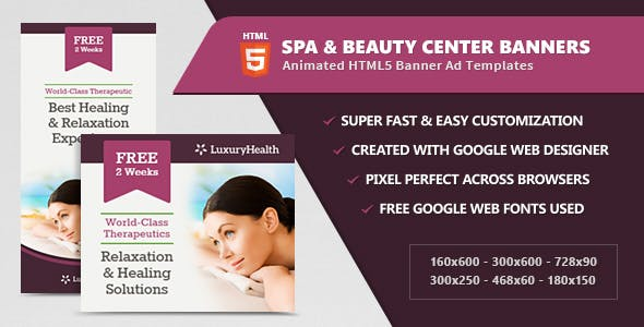 Spa & Health Banner Ad Templates - HTML5 Animated