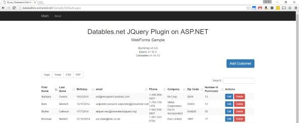 ASP NET JQuery Datatables Server Side Integration by