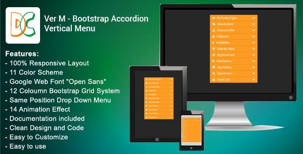 Ver M - Bootstrap Accordion Vertical Menu