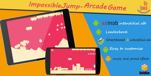 "Impossible Jump with Admob | Chartboost | Leaderboard and No Ads ""In App Purchase"""