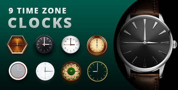9 Time Zone Clocks.