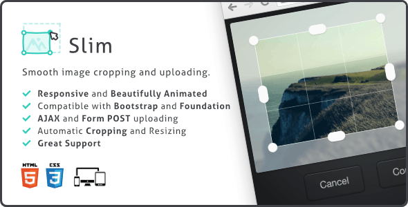 Slim Image Cropper, Responsive Uploading and Ratio Cropping Plugin