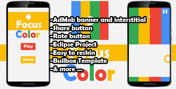 Color Switch Focus- Admob - Buildbox Game - Template Included + Android Eclipse Project